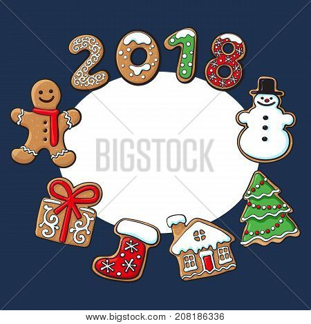 Round frame of homemade gingerbread cookies - Christmas elements and 2018 numbers, sketch vector illustration isolated on white background. Christmas gingerbread cookies forming round frame