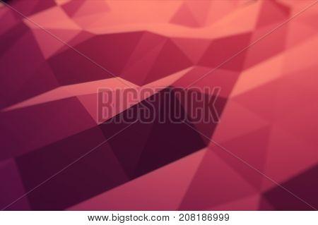 Red Orange Polygonal Geometric Surface. Computer Generated 3D Illustration