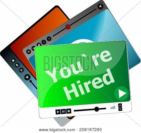 You Are Hired. Video Media Player Set For Web, Minimalistic Design