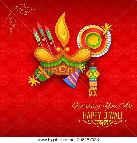 illustration of diya and firecracker on Happy Diwali Holiday background for light festival of India