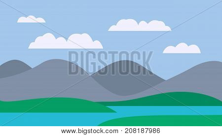 Cartoon colorful vector flat illustration of mountain landscape with meadow and lake under blue sky with clouds