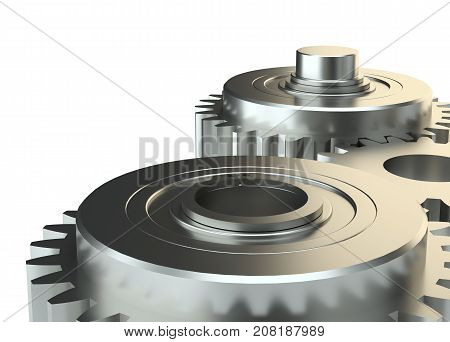 Cog gears mechanism concept. 3d illustration. Isolated on white