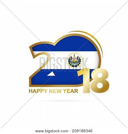 Year 2018 With El Salvador Flag Pattern. Happy New Year Design.