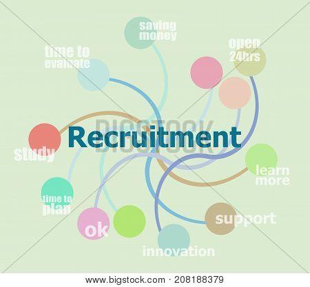 recruitment word. Business data visualization. Process chart