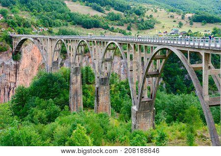 Beautiful view of Djurdjevic Bridge Tara River canyon Montenegro