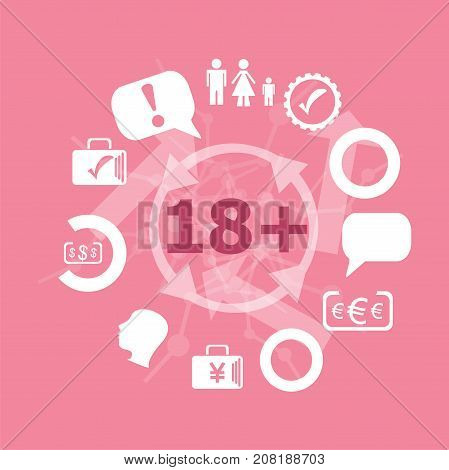 Text 18 Plus. Social Concept . Icons Set. Flat Pictogram. Sign And Symbols For Business, Finance, Sh