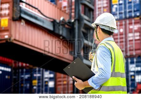 Foreman Control Industrial Container Cargo Freight Ship.