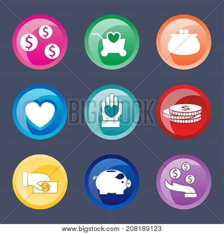 Colorful website donate buttons design vector illustration glossy graphic label internet confirm template banner. Rounded blank menu reflection business navigation download interface.