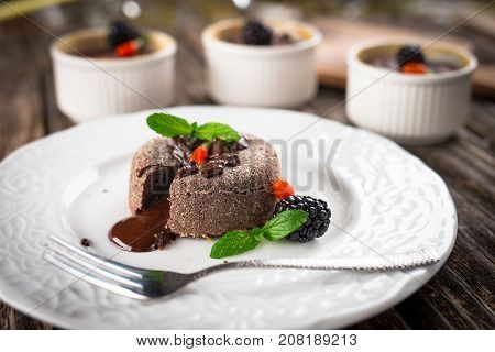 Chocolate fondant desserts with melting molten middles