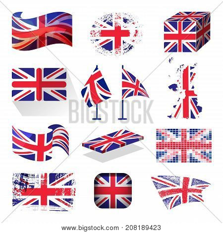 Waving UK flag england british patriotic national symbol of Great Britain different style vector illustration. Europe london government nation patriotism sign.