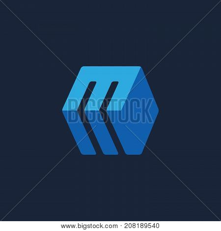 Letter M Cube Icon Design Template Elements