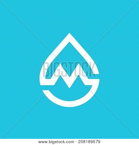 Letter M Water Drop Logo Icon Design Template Elements