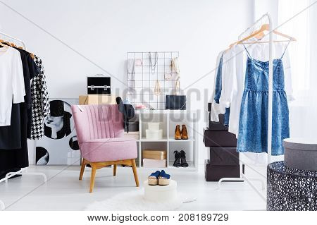 Pink Chair In Bright Dressing-room