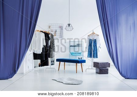 Blue Curtains In Bright Wardrobe