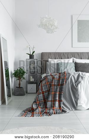 Cozy Interior Of Monochromatic Bedroom