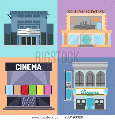 Cinema building vector illustration facade movie entertainment city house architecture theater exterior Urban film icon town vintage premiere show house construction.