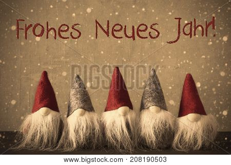 Gnomes With German Text Frohes Neues Jarh Means Happy New Year. Background With Snowflakes And Filter With Retro Style.