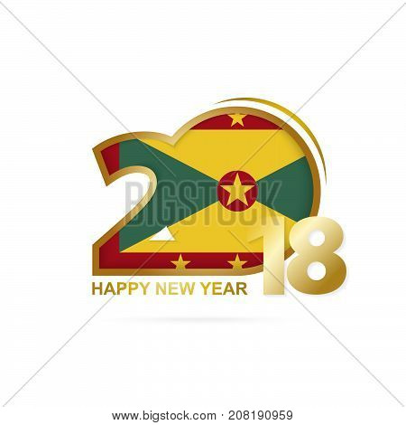 Year 2018 With Grenada Flag Pattern. Happy New Year Design.