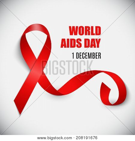 December 1 World AIDS Day Background. Red Ribbon Sign. Vector Illustration EPS10
