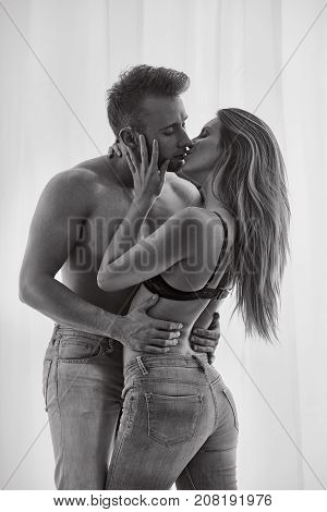 Sexy Lovers Kissing
