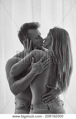 Erotic Couple Kissing