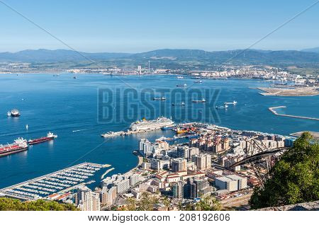 Gibraltar UK - May 18 2017: Aerial view of Gibraltar its marina and the Mediterranean sea as seen from the Rock of Gibraltar.