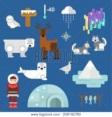 Cute animals and eskimos wild north people. Childish vector illustration arctic set. Snow wildlife cold polar bear mammal. Siberian character funny design.