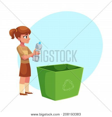 Girl holding trash bin with plastic bottles, garbage recycling concept, cartoon vector illustration with space for text. Full length portrait of girl throwing plastic bottles into trash bin