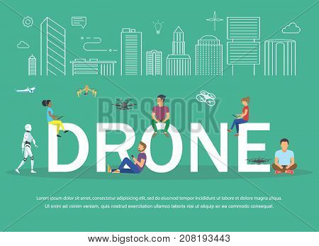 Drone illustration of young people having fan and playing with remote quadrocopters. Flat design
