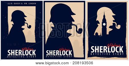 Set Of Sherlock Holmes Posters. Detective Illustration. Illustration With Sherlock Holmes. Baker Str
