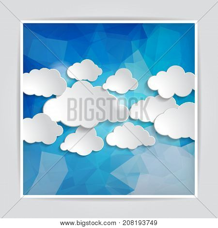 set of clouds on the Abstract Blue Triangular Polygonal background