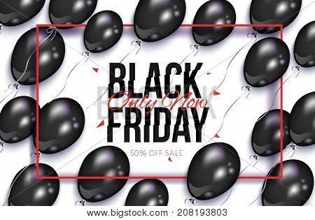 Black Friday rectangular horizontal sale banner, flyer design with balloons and frame, vector illustration on white background. Black Friday sale banner, flyer, poster template
