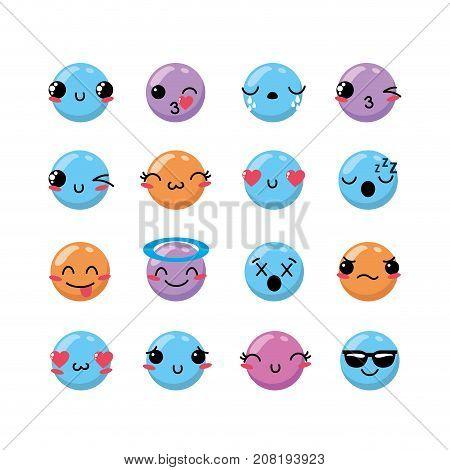 set kawaii emoji emotion design icon vector illustration