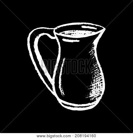 Milk pitcher white chalk on black background. Milk pot vector illustration. Milk ingredient for cappuccino or latte. Fresh milk drink. Chalk pitcher logo. Ceramic pitcher. Classic vintage kitchenware