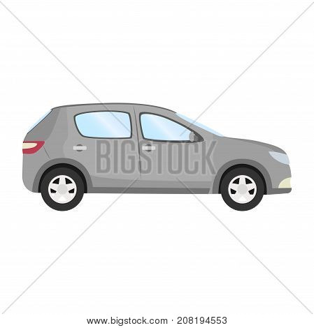 Car vector template on white background. Business hatchback isolated. grey hatchback flat style. side view.