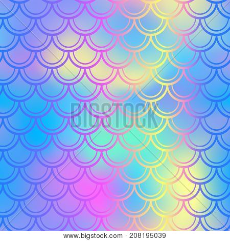 Blue pink fish skin vector background with scale pattern. Mermaid pattern. Bright gradient. Abstract blurry vector background. Fish skin seamless pattern. Mermaid scale background. Shiny fishscale