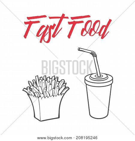 Vector sketch potato fry, french fries on striped white paper box, soft cold drink disposable cup with straw and lid. Hand drawn cartoon isolated illustration on a white background.