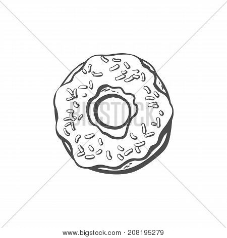 Vector sketch donut with glaze icing and sprinkles cartoon isolated illustration on a white background. Sweet delicious dessert food, snack