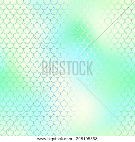 Green yellow fish skin vector background with scale pattern. Mermaid pattern. Pale gradient. Abstract blurry vector background. Fish skin seamless pattern. Mermaid scale background. Shiny fishscale