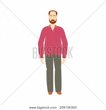 vector adult red-haired man with beard and mustache wearing purple shirt, grey trousers isolated. Full lenght portrait. Flat illustration on a white background, Family character cartoon concept.