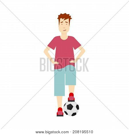 vector flat young boy stands with football ball. Isolated illustration on a white background. Man full lenght portrait. Family character cartoon concept.