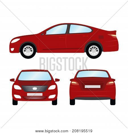 Car vector template on white background. Business sedan isolated. red sedan flat style. side back front view.