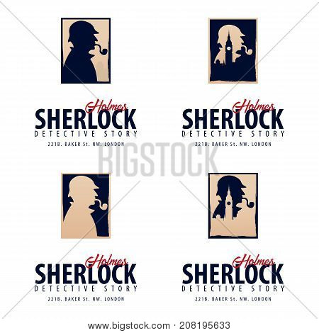 Set Of Sherlock Holmes Logos Or Emblems. Detective Illustration. Illustration With Sherlock Holmes.