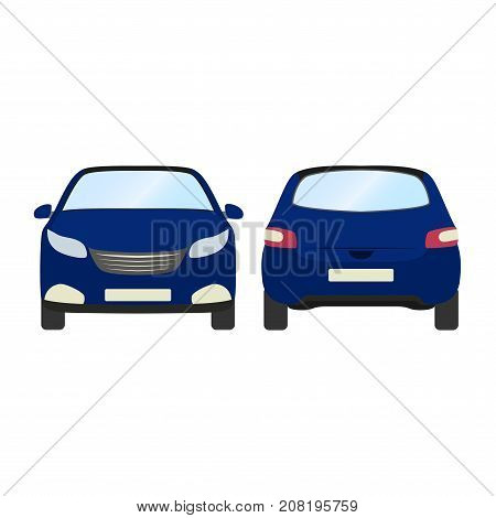 Car vector template on white background. Business hatchback isolated. blue hatchback flat style.front and back view.