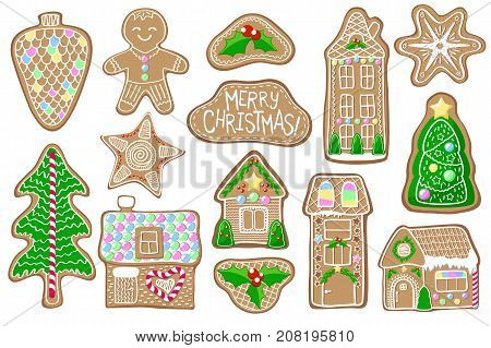 Christmas gingerbread figures on white. Gingerbread figurine vector clipart. Cozy house fir tree man star cookie. Merry Christmas clip art. Ginger bread with handdrawn decor. Gingerbread stickers
