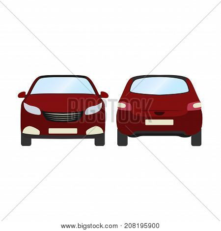 Car vector template on white background. Business hatchback isolated. red hatchback flat style.front and back view.