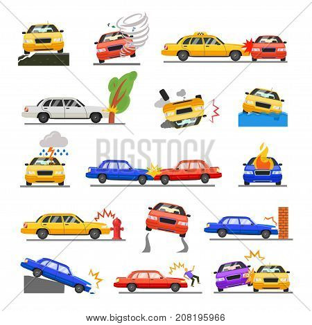 Car crash set. Road safety, serious traffic accident, automobile colliding with another vehicle. Vector flat style cartoon illustration isolated on white background