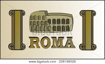 Roman Coliseum image with text and columns