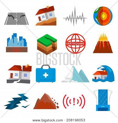 Earthquake icon set. Shaking or trembling of the earth, volcanic or tectonic, causing great damage and destruction. Vector flat style cartoon illustration isolated on white background
