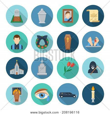 Funeral icon set. Burial, cremation rituals undertaken, saying goodbye to someone who died, service provider and church ceremony. Vector flat style cartoon illustration isolated on white background